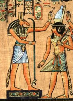 God Seth enthronising the  pharaoh